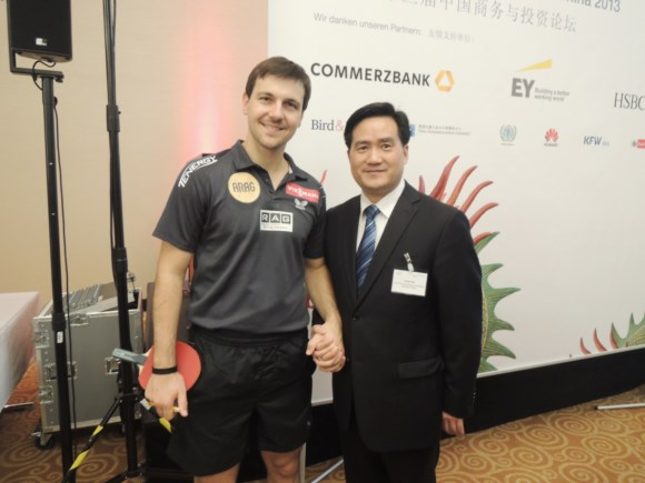 Photo of Mr. Frank Cao, Secretary-General of GASME and Mr. Timo Boll, the well-known German professional table tennis player