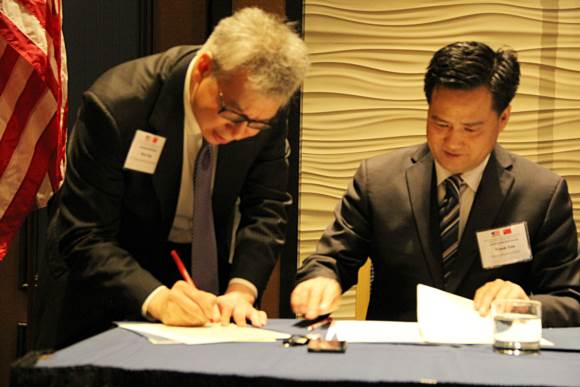 The signing of strategic agreement between GASME and U.S.-China Chamber of Commerce